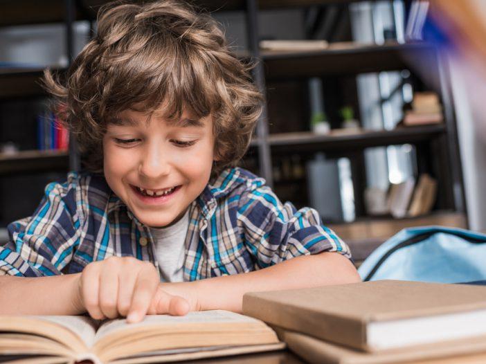 Kid doing 1st-grade reading