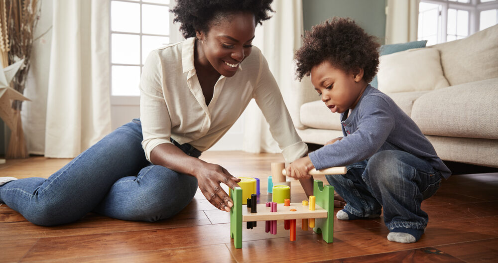 Mom doing fun activities for 2-year-olds
