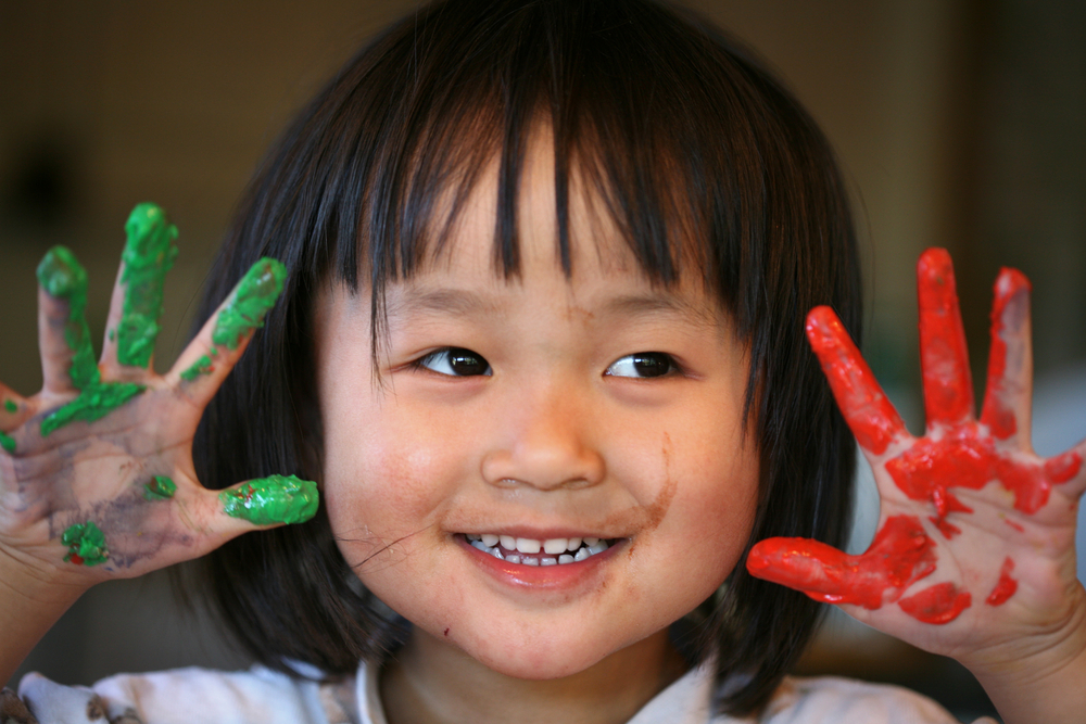 Finger painting is great idea for  activities for 2-year-olds