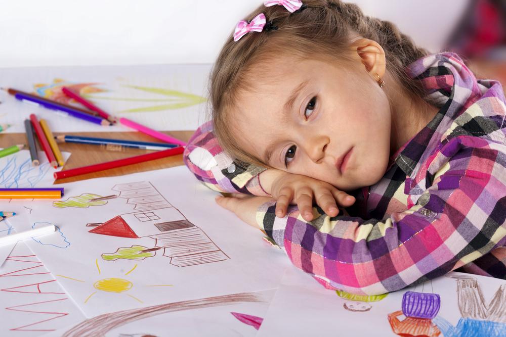 Young girl taking her brain breaks