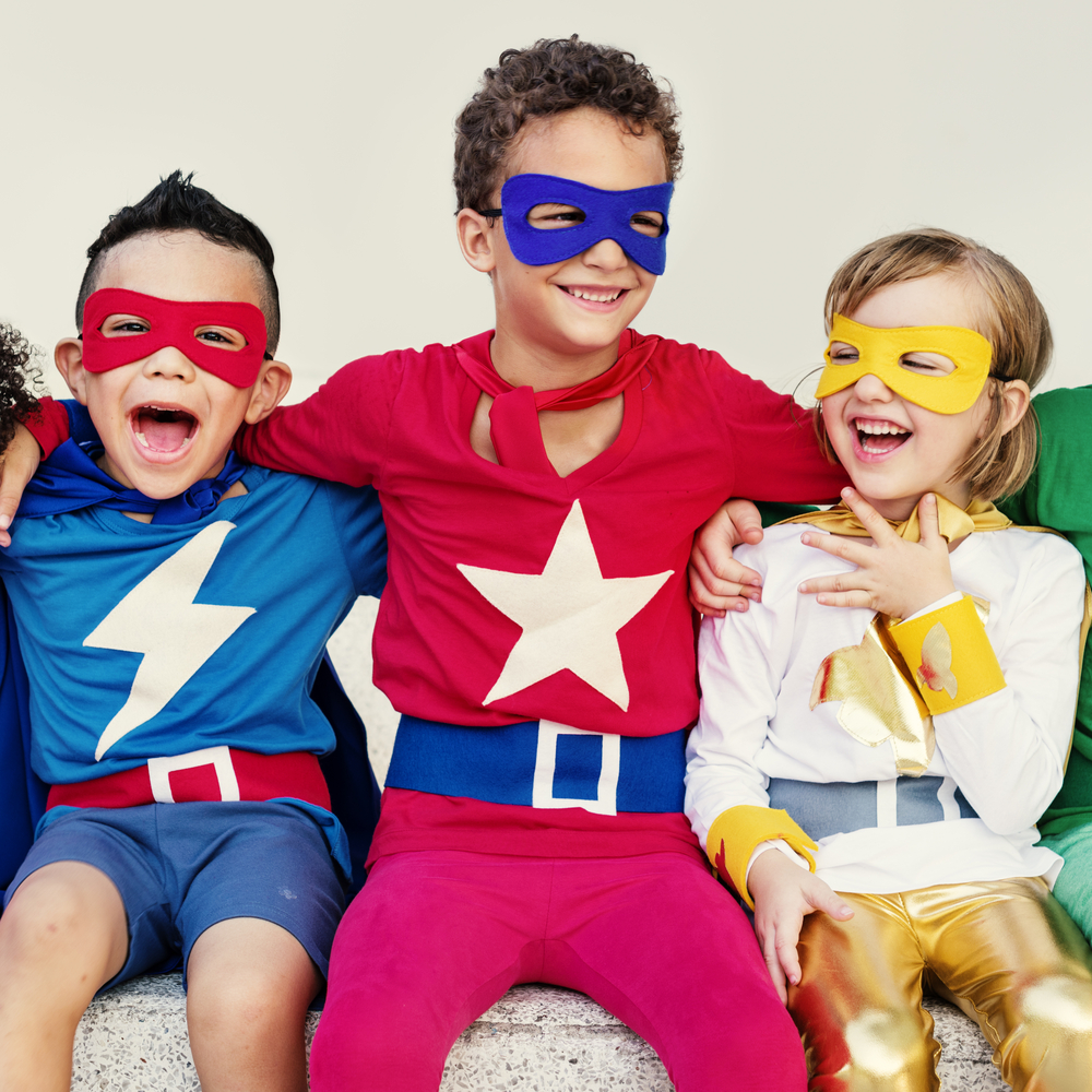 Kids dressed at super hero for dramatic play