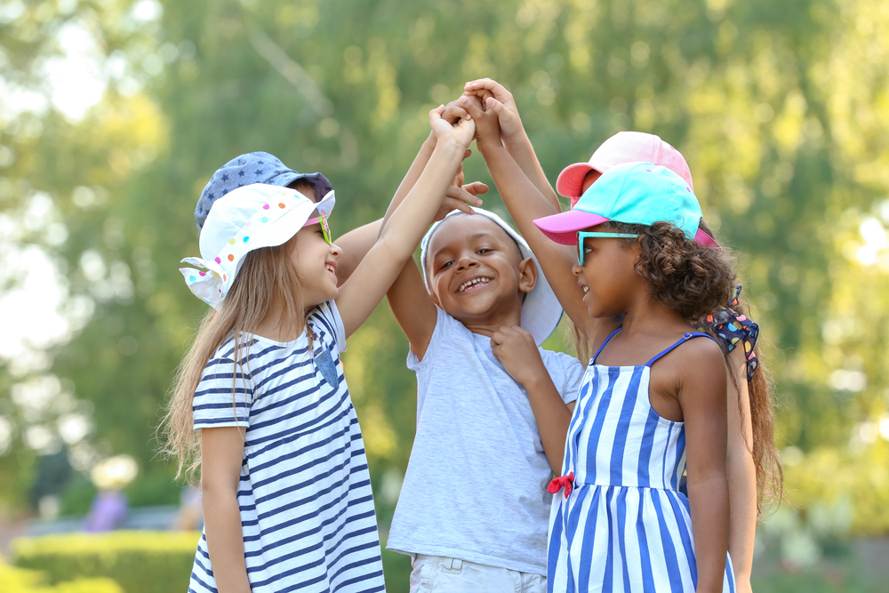 Young group of kids learning through play