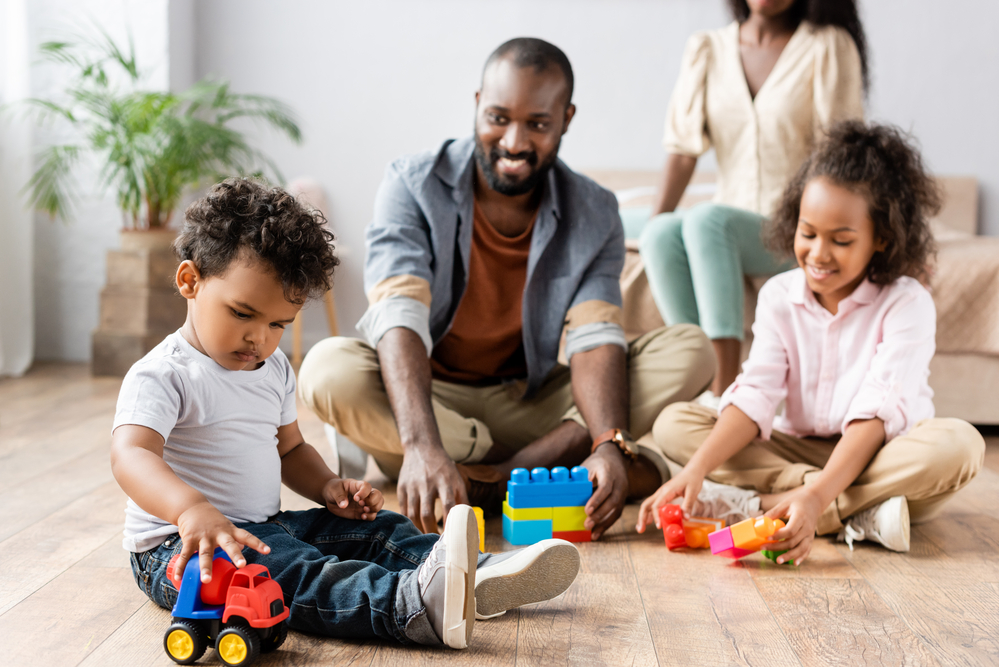 Family learning through play with legos