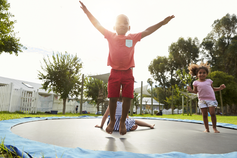 Jumping on a trampoline is great activities for 4-year-olds