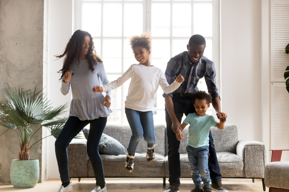 Family having a dance party