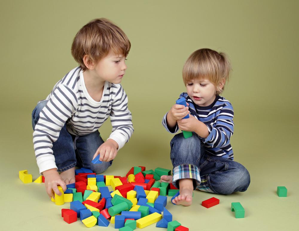 Two  kids sharing blocks
