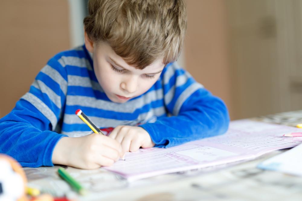 Portrait of cute happy school kid boy at home doing homework.